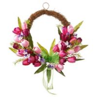 National Tree Company Tulip Twig 20-Inch Wreath in Pink