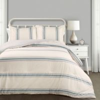Farmhouse Stripe Reversible King Comforter Set in Blue