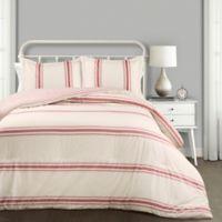 Farmhouse Stripe Reversible King Comforter Set in Red