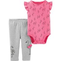 carter's® Size 3M 2-Piece Allover Flamingo Print Flutter Bodysuit and Pant Set in Pink
