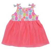 Baby Starters® Size 6M Pineapple Dress with Attached Bodysuit in Pink
