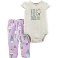 carter's® Size 9M 2-Piece Ice Cream Bodysuit and Pant Set in Grey