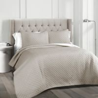 Ava Diamond King Quilt Set in Grey