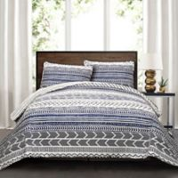 Lush Decor Hygge Geo 3-Piece King Reversible Quilt Set in Navy