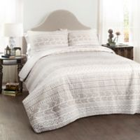 Lush Decor Hygge Geo 3-Piece King Reversible Quilt Set in Taupe