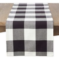 Saro Lifestyle Birmingham Plaid 72-Inch Table Runner in Black