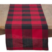 Saro Lifestyle Birmingham Plaid 72-Inch Table Runner in Red
