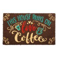 """Design Imports Love Coffee 18"""" X 30"""" Door Mat in Brown"""