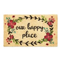 "Design Imports Our Happy Place 18"" X 30"" Door Mat in Green"
