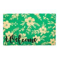 Design Imports Floral Door Mat inTurquoise