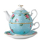 Royal Albert 3-Piece Tea Set for One in Polka Dot Blue