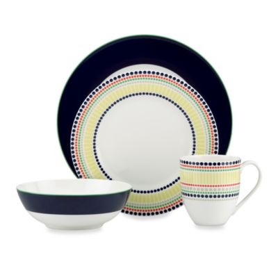 kate spade new york Hopscotch Drive™ 4-Piece Place Setting in Navy  sc 1 st  Bed Bath \u0026 Beyond & Buy Navy Dinnerware Set from Bed Bath \u0026 Beyond