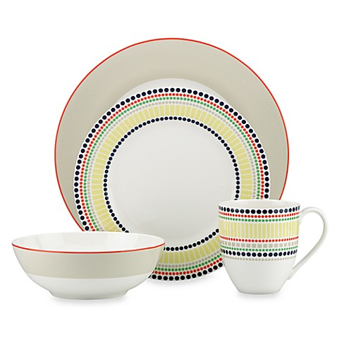 kate spade new york Hopscotch Drive™ 4-Piece Porcelain Dinnerware Set in Taupe