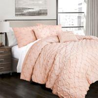 Lush Decor Ravello Pintuck Full/Queen Comforter Set in Blush