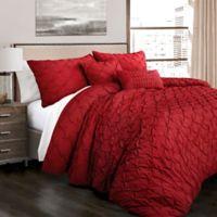 Lush Decor Ravello Pintuck King Comforter Set In Red