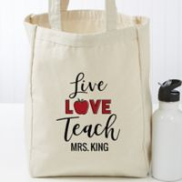 Live Love Teach Personalized Small Teacher Canvas Tote Bag
