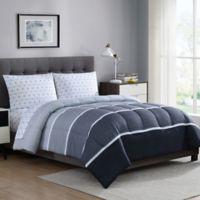 Newport 5-Piece Reversible Full Comforter Set in Grey