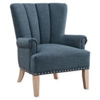 Linen Upholstered Chase Chair in Blue