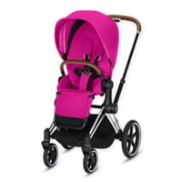 CYBEX Priam Stroller with Chrome/Brown Frame and Fancy Pink Seat