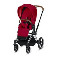 CYBEX Priam Stroller with Chrome/Brown Frame and True Red Seat