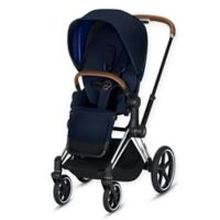 CYBEX Platinum Priam Stroller with Chrome/Brown Frame and Indigo Blue Seat