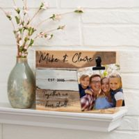 Family Photo Clip Personalized 8-Inch x 6-Inch Reclaimed Wood Sign in Blue