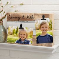 Family Photo Clip Personalized 12-Inch x 8-Inch Reclaimed Wood Sign in Blue