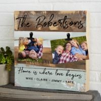 Family Photo Clip Personalized 12-Inch Square Reclaimed Wood Sign in Blue