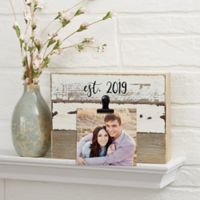 Darling Duo Personalized 8-Inch x 6-Inch Reclaimed Wood Photo Clip Sign in White