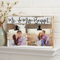 Darling Duo Personalized 12-Inch x 8-Inch Reclaimed Wood Photo Clip Sign in White