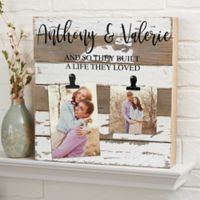 Darling Duo Personalized 12-Inch Square Reclaimed Wood Photo Clip Sign in White