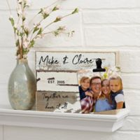 Family Photo Clip Personalized 8-Inch x 6-Inch Reclaimed Wood Sign in White