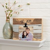 Darling Duo Personalized 8-Inch x 6-Inch Reclaimed Wood Photo Clip Sign in Blue