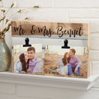 Darling Duo Personalized 12-Inch x 8-Inch Reclaimed Wood Photo Clip Sign in Blue