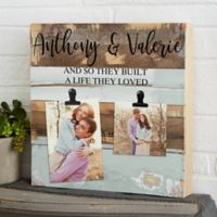 Darling Duo Personalized 12-Inch Square Reclaimed Wood Photo Clip Sign in Blue
