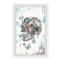 Parvez Taj Butterfly Skull Garden 8-Inch x 12-Inch Framed Wall Art