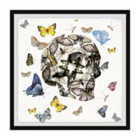 Parvez Taj Butterfly Skull Escape 32-Inch Squared Framed Wall Art