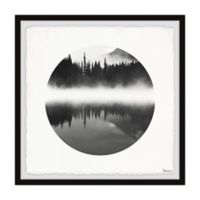 Parvez Taj Mountain Lake Reflection 32-Inch Squared Framed Wall Art