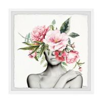 Parvez Taj Pinkish Bloom 12-Inch Squared Framed Wall Art