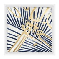 Parvez Taj Blue and Gold Strokes 24-Inch Squared Framed Wall Art