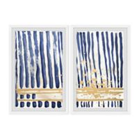 Parvez Taj Blue Verticals 16-Inch x 12-Inch Framed Wall Art Set
