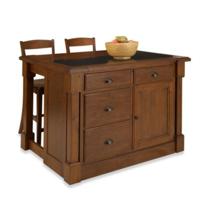 Beau Home Styles Aspen Rustic Cherry Black Granite Top Kitchen Island With  Barstools