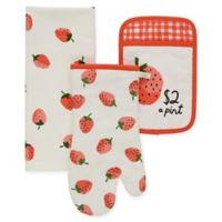 kate spade new york Strawberry 3-Piece Kitchen Linens Set in Hibiscus