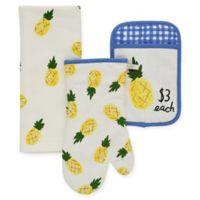 kate spade new york Pineapple 3-Piece Kitchen Linens Set in Cornflower