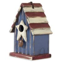 Solid Wood Rustic Birdhouse in Blue