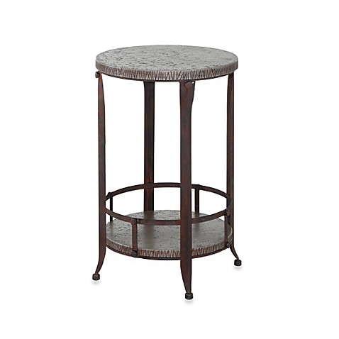 Powell Foundry Antique Pewter Round Accent Table