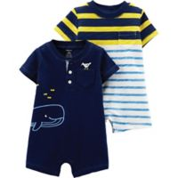 carter's® Boy's Newborn 2-Pack Short Sleeve Rompers