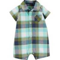 carter's® Boy's Newborn Plaid Romper in Green/Navy