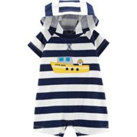 carter's® Boy's Newborn Boat Stripe Hooded Romper in Navy