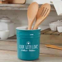 Made With Love Stoneware Utensil Holder in Blue